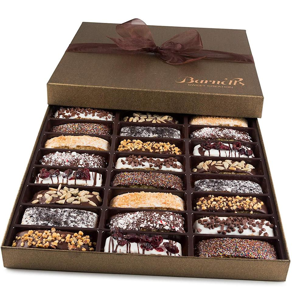 """<h3><strong>Gourmet Biscotti Box</strong></h3><br>This decadent box is filled with an assortment of chocolate-drizzled and dipped dessert cookies that Amazon customers can't get enough of.<br><br><strong>Rating:</strong> 4.5 out of 5 stars, and 737 reviews<br><br><strong>A Satisfied Customer Review: </strong>""""I purchase this gift on a yearly basis now because my favorite aunt requests it. She loves the variety of biscotti and looks forward to it every year! I highly recommend this gift! My aunt says it's the freshest, best biscotti ever.""""<br><br><strong>Barnett's</strong> Biscotti Cookies Gift Box, $, available at <a href=""""https://www.amazon.com/dp/B006J7TAHM/ref=s9_acsd_bw_wf_a_CHANGEME_cdl_11"""" rel=""""nofollow noopener"""" target=""""_blank"""" data-ylk=""""slk:Amazon"""" class=""""link rapid-noclick-resp"""">Amazon</a>"""