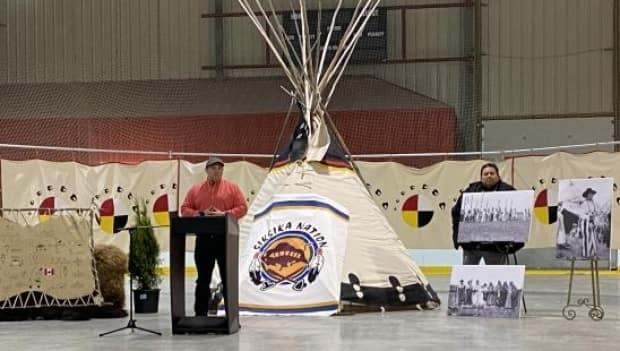 Chief Ouray Crowfoot of Siksika Nation, at the opening ceremony of Siksika's rural COVID vaccine clinic.