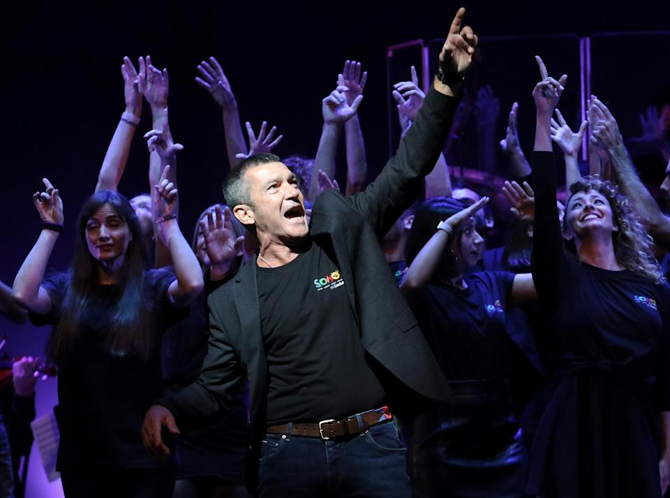 <p>Antonio Banderas performs at the presentation of his new show Company on Wednesday at the Soho Caixabank Theatre in Malaga, Spain.</p>