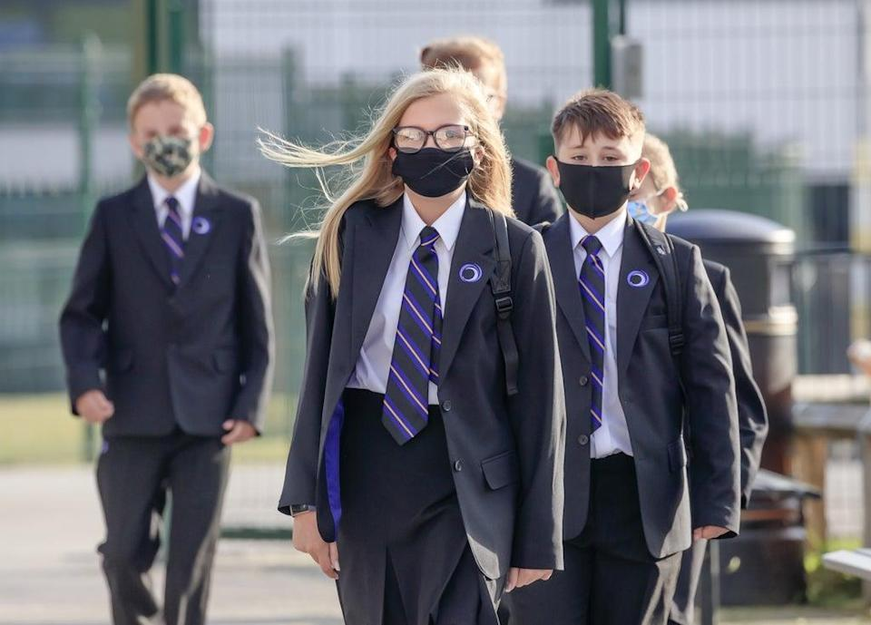Pupils wear protective face masks at Outwood Academy Adwick in Doncaster (PA) (PA Archive)