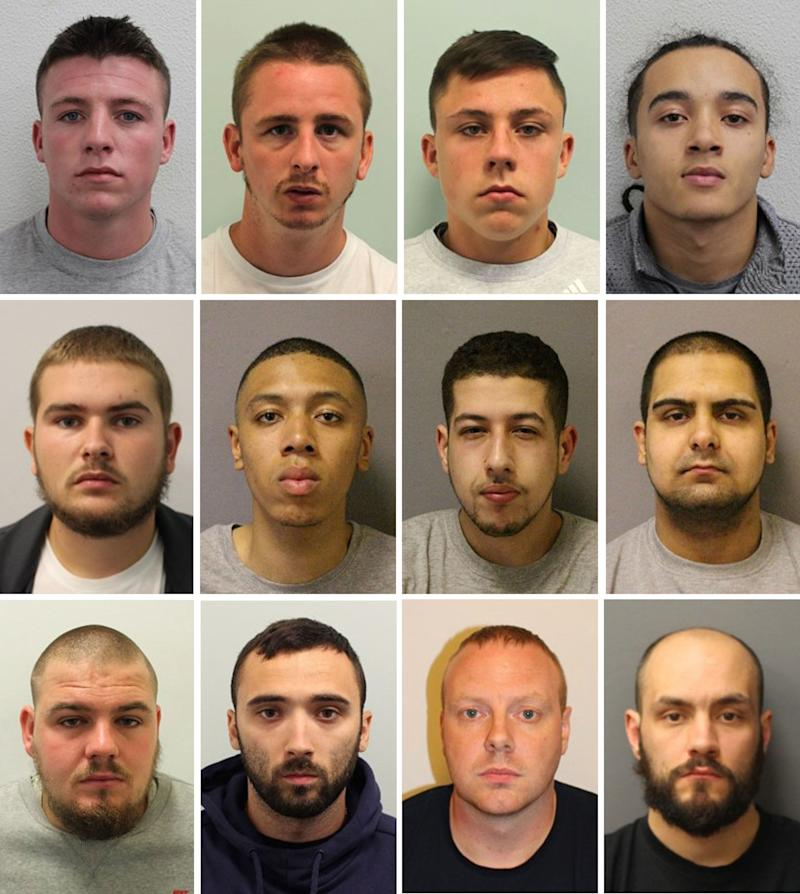 "Undated handout comp of photos issued by the Metropolitan Police of (Top row left to right) John McFadyen, Aaron Pask, Issac McFadyen and Joshua Strong-Myers. (Middle Row left to right) Mitchell Leaver, Kian Taylor, Omar Tafat and Ram Monk. (Bottom row left to right) Scott Leaver, Ryan Moran, Steven Weller and Terry Marsh. They are all part of a moped gang who have been jailed for a string of bold ""professional, planned and organised"" high profile raids across London. (PA)"