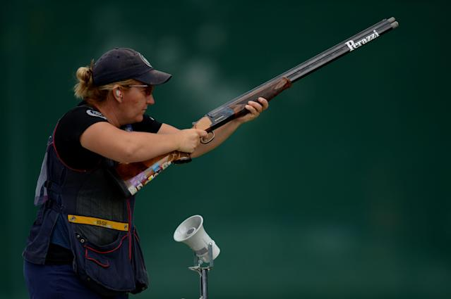 LONDON, ENGLAND - AUGUST 04: Kimberly Rhode of the United States competes during the Women's Trap Shooting Qualification on Day 8 of the London 2012 Olympic Game at the Royal Artillery Barracks on August 4, 2012 in London, England. (Photo by Lars Baron/Getty Images)