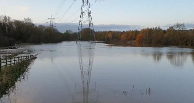 Floodwater at the Rother at Killamarsh, Derbyshire