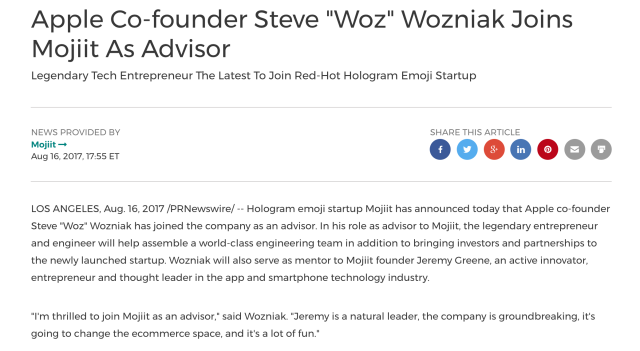 The press release touting Wozniak's involvement with Mojiit. (Screenshot)