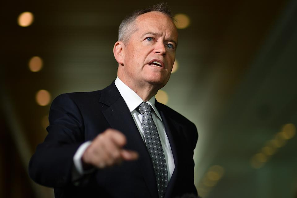 """CANBERRA, AUSTRALIA - JUNE 12:  Shadow Minister For Government Services Bill Shorten during a press conference in the Mural Hall at Parliament House on June 12, 2020 in Canberra, Australia. The government last month promisedto repay $720m to 373,000 past and present welfare recipients over 470,000 unlawful demands for money calculated using faulty """"income averaged"""" annual pay data as part of Centrelink's income compliance program. New polling has showed significant support for a royal commission into the debacle, and revelations that internal estimates have shown the total value of those 470,000 unlawful debts will be close to $1.5bn AUD.  (Photo by Sam Mooy/Getty Images)"""