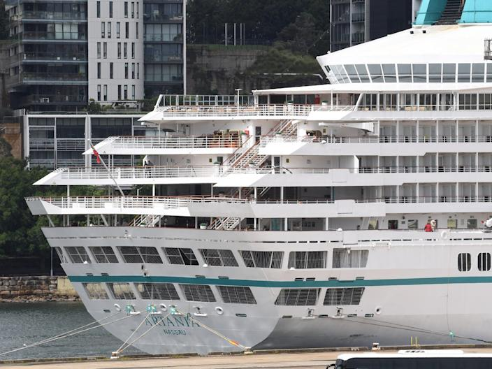 The Artania cruise ship in White Bay, Sydney, on March 16, 2020.
