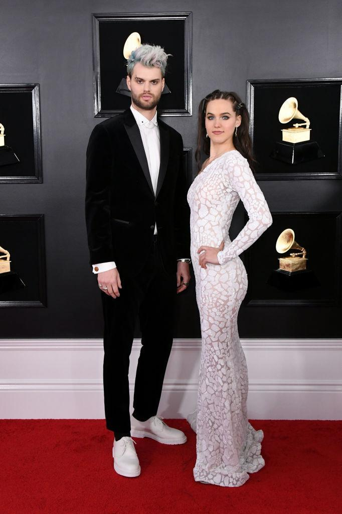 <p>Tucker Halpern, left, and Sophie Hawley-Weld of Sofi Tukker attend the 61st annual Grammy Awards at Staples Center on Feb. 10, 2019, in Los Angeles. </p>