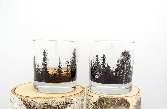 """<a href=""""https://www.etsy.com/listing/240501211/whiskey-glasses-forest-landscape-screen"""" target=""""_blank"""">Shop them here</a>."""