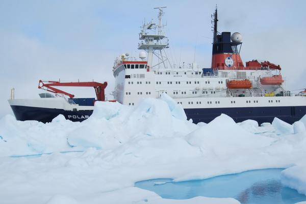 A research vessel used during an Arctic expedition to map sea ice in 3D.