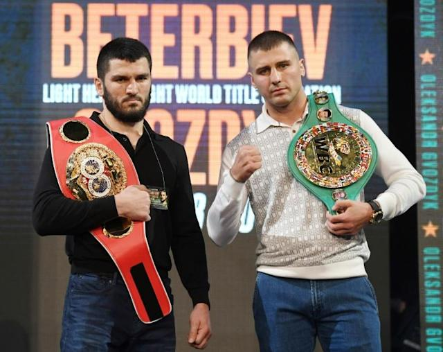 IBF light heavyweight champion Artur Beterbiev (L) seized the WBC belt of Oleksandr Gvozdyk with a 10th-round technical knockout in Philadelphia (AFP Photo/Ethan Miller)