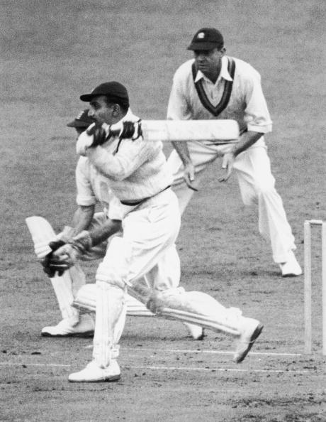 Indian cricketer Vijay Merchant (1911 - 1987) batting against England during the Third Test at The Oval, London, 18th August 1946. (Photo by Central Press/Hulton Archive/Getty Images)