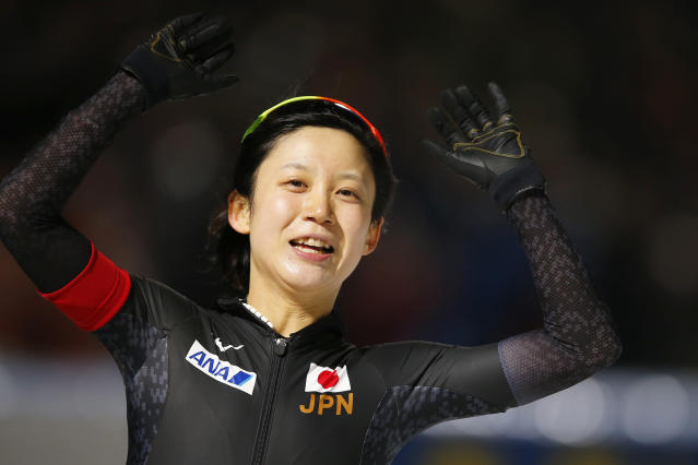 New world champion allround Miho Takagi of Japan celebrates after the women's 5,000 meters race at the World Championships Speedskating Allround at the Olympic stadium in Amsterdam, Netherlands, Saturday, March 10, 2018. (AP Photo/Peter Dejong)