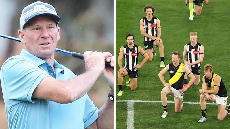 A 50-50 split image shows Sam Newman on the left and Richmond and Collingwood players kneeling on the right.