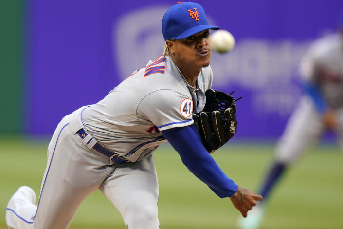 New York Mets starting pitcher Marcus Stroman delivers during the first inning of the team's baseball game against the Pittsburgh Pirates in Pittsburgh, Friday, July 16, 2021. (AP Photo/Gene J. Puskar)
