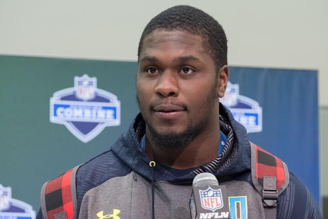 Malik McDowell at the 2017 NFL scouting combine before the Seattle Seahawks selected him in the second round of that year's draft. (Photo by Robin Alam/Icon Sportswire via Getty Images)