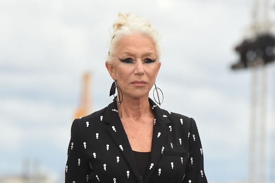 Dame Helen Mirren rocked a wide flicked eyeliner at the L'Oreal show in Paris, yesterday. (Getty Images)