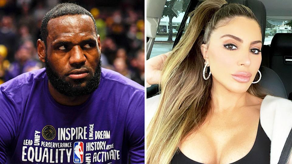 LeBron James (pictured left) looking frustrated on the sideline and Larsa Pippen (pictured right) posing.