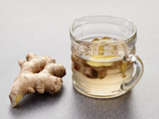 <p>Whisk 1 cup each water and sugar and ½ cup sliced ginger together in microwave-safe bowl. Microwave for 3 minutes and whisk. Continue to microwave for 1-minute intervals, stirring, until all of the sugar dissolves. Cool.</p>