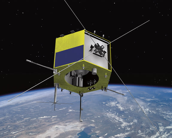 Artist's concept of the Cascade Smallsat and Ionospheric Polar Explorer (CASSIOPE) satellite.