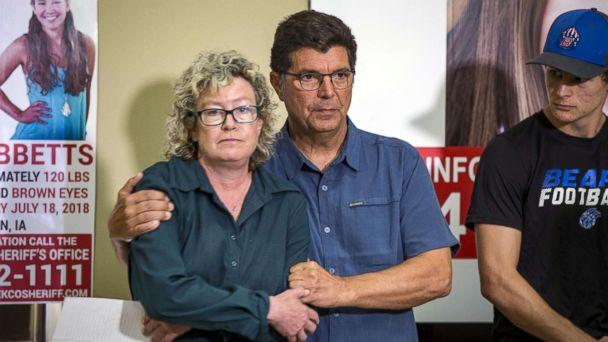 PHOTO: Laura Calderwood and Rob Tibbetts, the parents of missing of Iowa student Mollie Tibbetts, hold each other during a press conference for the 'Bring Mollie Tibbetts Home Safe' reward fund in Brooklyn, Iowa, Aug. 2, 2018. (The Register via USA Today Network, FILE)