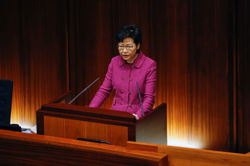 """Hong Kong Chief Executive Carrie Lam attends her quarterly """"Question and Answer Session"""" at the Legislative Council, in Hong Kong"""