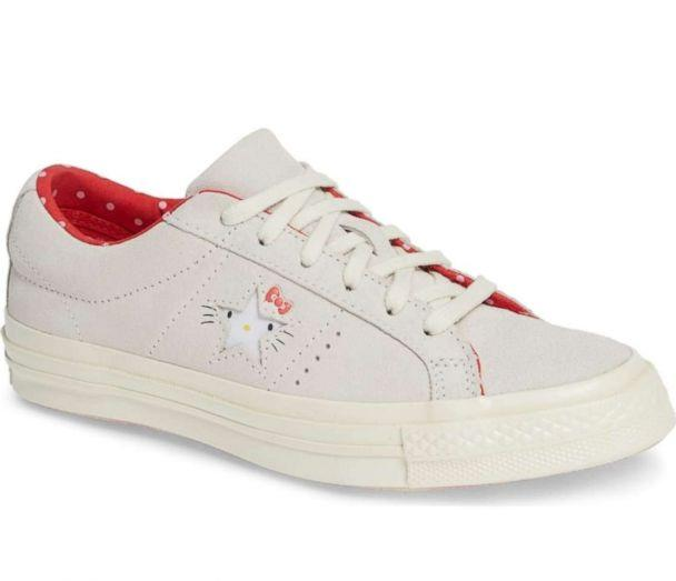 PHOTO: These Converse One Star sneakers feature Hello Kitty's face & whiskers printed on One Star underlay. (Nordstrom)