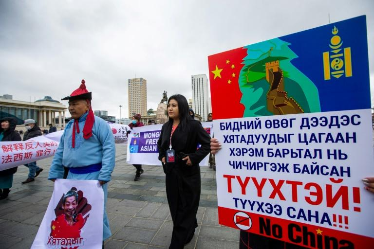Mongolians rally against China days before Pompeo visit