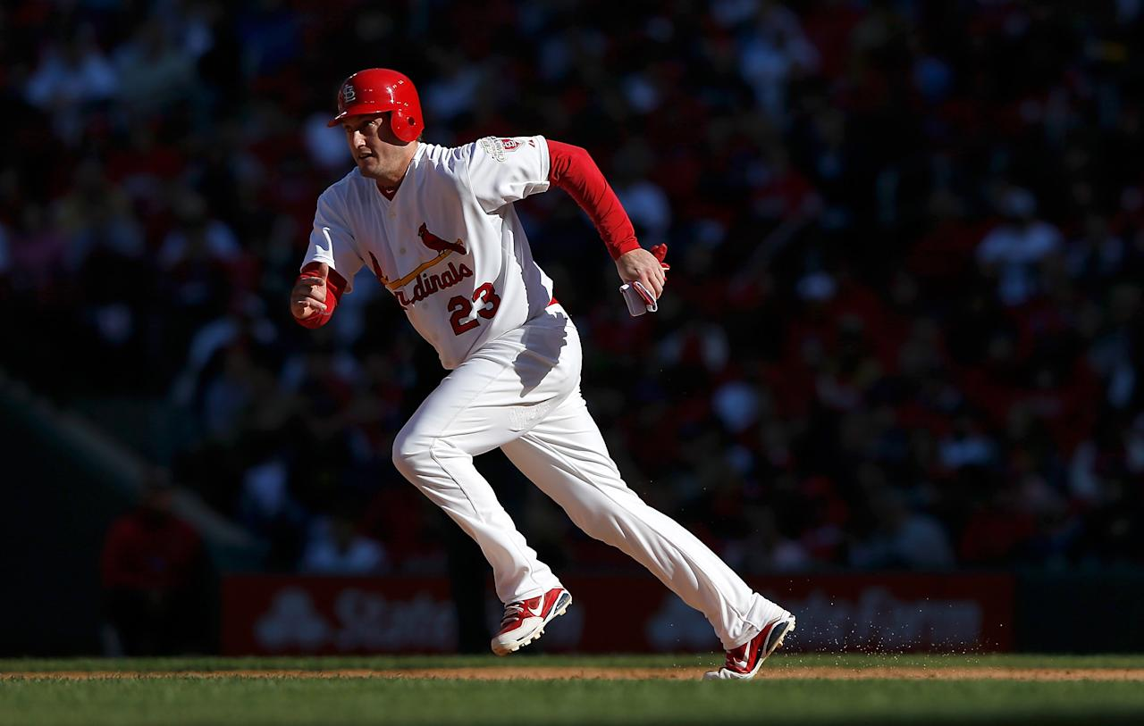 ST LOUIS, MO - OCTOBER 07: David Freese #23 of the St Louis Cardinals runs to second in the fourth inning against the Washington Nationals during Game One of the National League Division Series at Busch Stadium on October 7, 2012 in St Louis, Missouri.  (Photo by Jamie Squire/Getty Images)