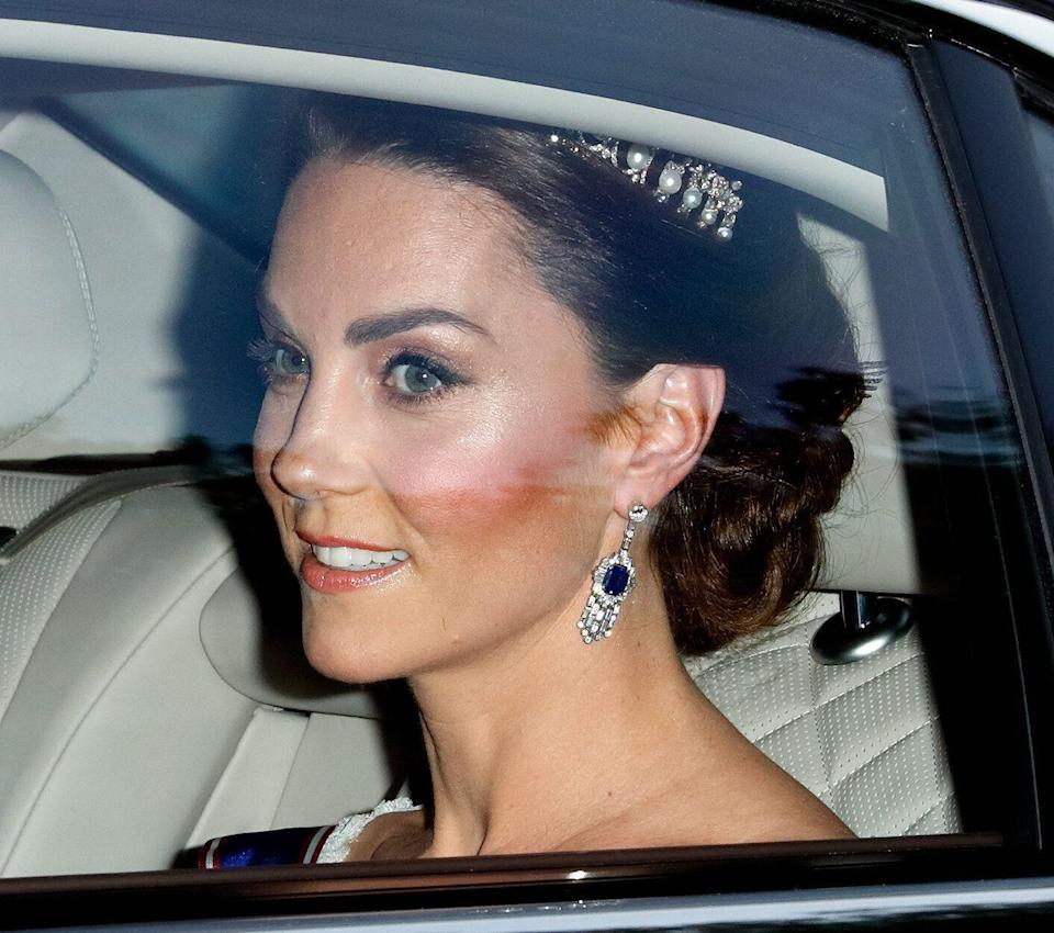 LONDON, UNITED KINGDOM - JUNE 03: (EMBARGOED FOR PUBLICATION IN UK NEWSPAPERS UNTIL 24 HOURS AFTER CREATE DATE AND TIME) Catherine, Duchess of Cambridge departs Kensington Palace to attend a State Banquet at Buckingham Palace on day 1 of US President Donald Trump's State Visit to the UK on June 3, 2019 in London, England. President Trump's three-day state visit will include lunch with the Queen, and a State Banquet at Buckingham Palace, as well as business meetings with the Prime Minister and the Duke of York, before travelling to Portsmouth to mark the 75th anniversary of the D-Day landings. (Photo by Max Mumby/Indigo/Getty Images)