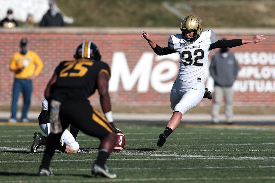 Sarah Fuller #32 of the Vanderbilt Commodores kicks off in the second half against the Mizzou Tigers at Memorial Stadium on November 28, 2020 in Columbia, Missouri.