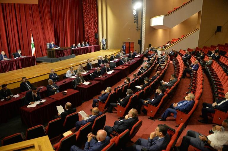 Lebanon's parliamentary session Monday was held at Beirut's UNESCO Palace to allow for social distancing amid the coronavirus pandemic (AFP/-)