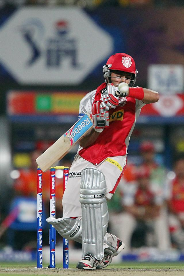 Manan Vohra avoids a high ball from Jacques Kallis during match 35 of the Pepsi Indian Premier League between The Kolkata Knight Riders and the Kings XI Punjab held at the Eden Gardens Stadium in Kolkata on the 26th April 2013. (BCCI)