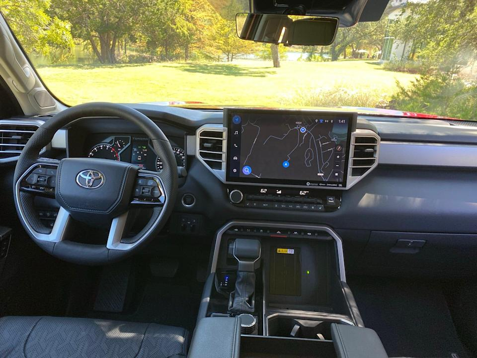 The 2022 Toyota Tundra's 14-inch touch screen is available on most models.