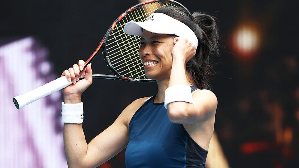 Su-Wei Hsieh, pictured here after her victory over Marketa Vondrousova at the Australian Open.