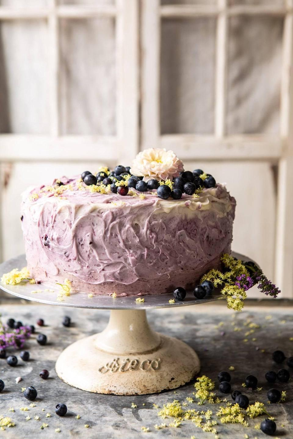 "<p>Want to make something fruity, sweet, <em>and</em> impressive? This cake is it. Imagine: three layers of light lemon cake swirled with a mix of fresh blueberries and blueberry jam. Oh, yeah.</p> <p><strong>Get the recipe</strong>: <a href=""https://www.halfbakedharvest.com/bursting-blueberry-lemon-layer-cake/"" class=""link rapid-noclick-resp"" rel=""nofollow noopener"" target=""_blank"" data-ylk=""slk:bursting blueberry lemon layer cake"">bursting blueberry lemon layer cake</a></p>"