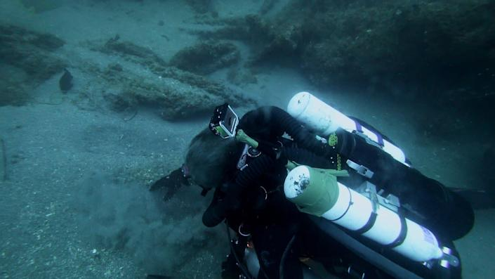 Michael Barnette on the wreck of the SS Cotopaxi searching for clues. (Photo: Science Channel)