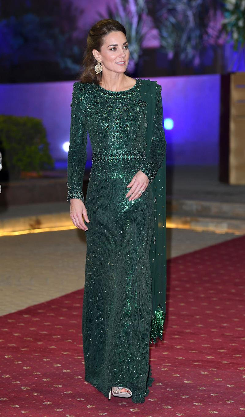 In a sparkly emerald Jenny Packham dress fora special reception hosted by the British High Commissioner to Pakistan.