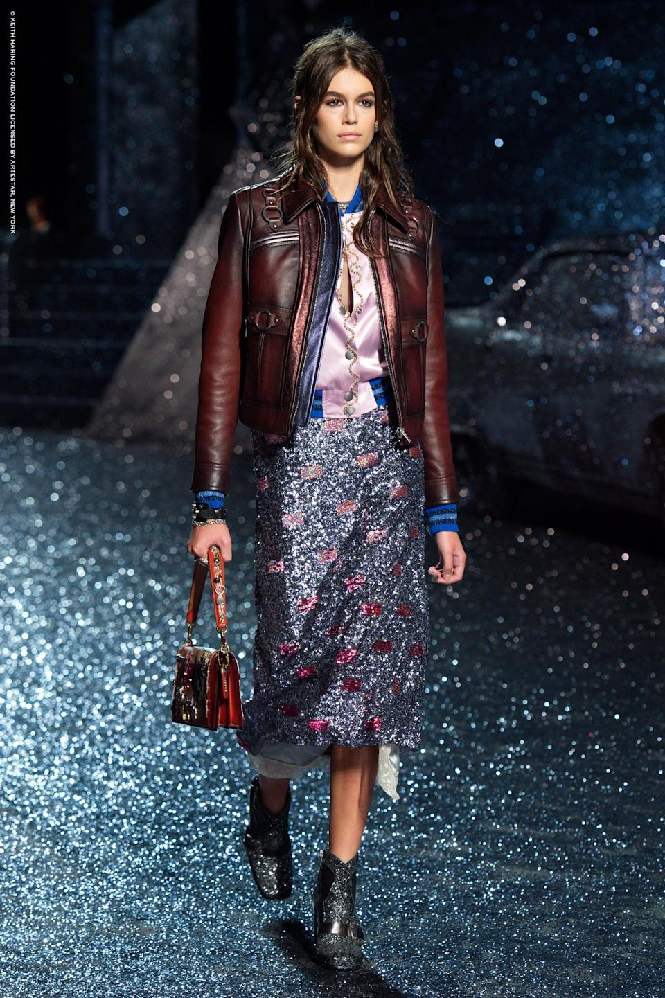 <p>Kaia's Western-inspired look for Coach worked incredibly well with the glittery floor.<br><i>[Photo: Coach]</i> </p>