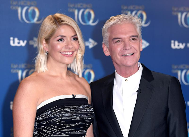 BOVINGDON, ENGLAND - DECEMBER 09: Holly Willoughby and Phillip Schofield during the Dancing On Ice 2019 photocall at the Dancing On Ice Studio, ITV Studios, Old Bovingdon Airfield on December 09, 2019 in Bovingdon, England. (Photo by Karwai Tang/WireImage)