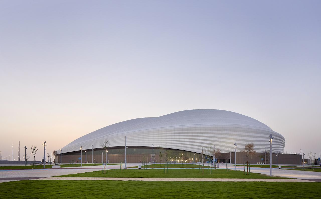 "Zaha Hadid Architects <a href=""https://www.architecturaldigest.com/story/zaha-hadid-architects-completes-stadium-qatar-2022-world-cup?mbid=synd_yahoo_rss"">constructed this sleek stadium</a> with one major event in mind: the 2022 FIFA World Cup, which will be held in Qatar. The blueprints were inspired by the maritime history of Al Wakrah as well as the aesthetic and function of a boat; the structure's undulating shape is a nod to traditional dhows, and the retractable fabric roof can be unfurled like a sail when there needs to be shade. The 40,000-person structure also comes equipped with custom under-seat cooling systems that can withstand Qatar's intense heat."