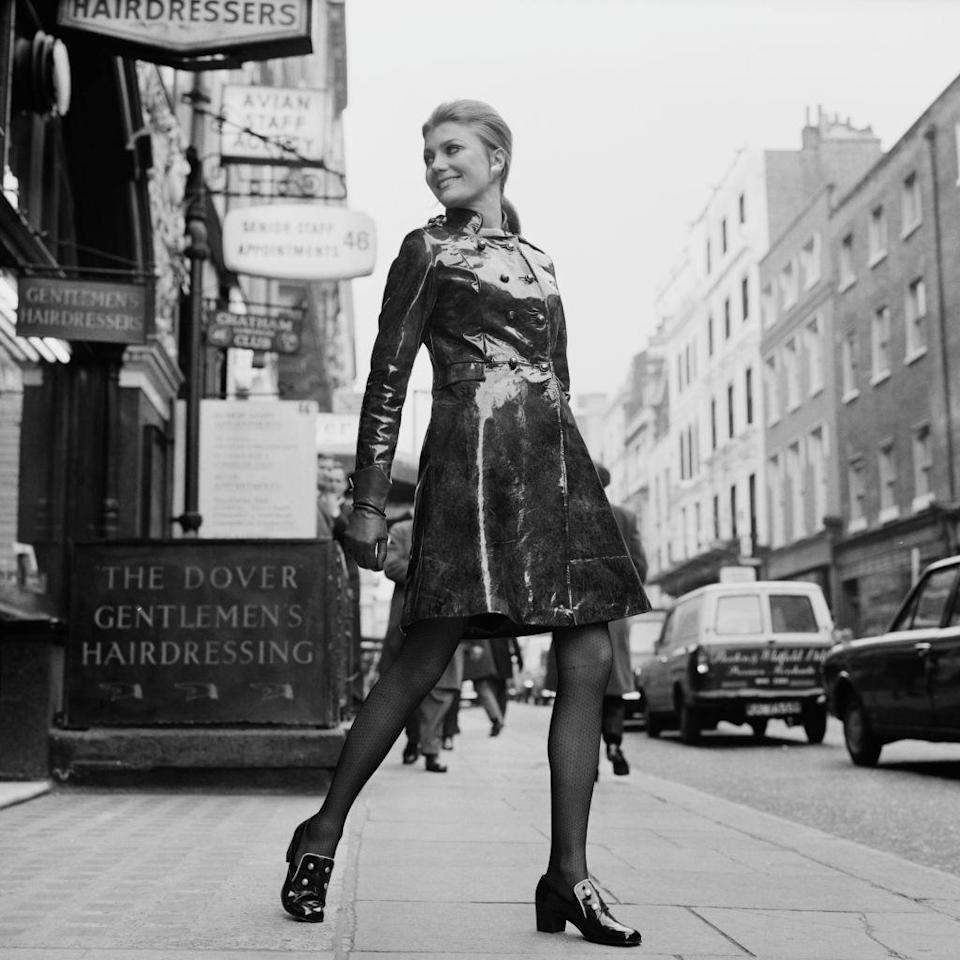 <p>Stepping out on the town in a slick, patent coat.</p>