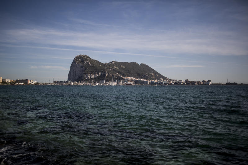 Aerial view of Gibraltar rock seen from the neighbouring Spanish city of La Linea, during a general election in Gibraltar, Thursday Oct. 17, 2019, with Brexit being one of the major topics under consideration after some 96 per-cent of residents voted to remain in Europe in the original 2016 referendum. An election for Gibraltar's 17-seat parliament is taking place under a cloud of uncertainty about what Brexit will bring for the British territory on Spain's southern tip. (AP Photo/Javier Fergo)