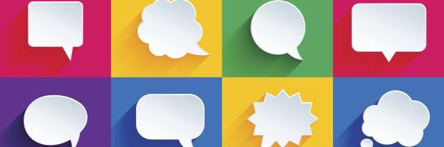Speech bubbles in a variety of colored boxes.