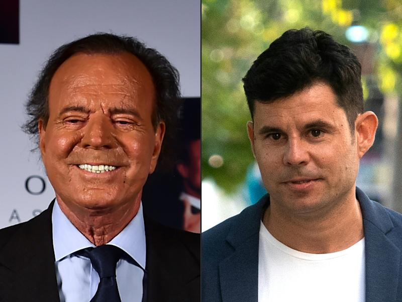 (COMBO) This combination of pictures created on July 10, 2019 shows a file photo taken on September 23, 2015 of Spanish singer Julio Iglesias in Mexico city and a file photo taken on July 04, 2019 of Javier Sanchez Santos in Valencia. - A Spanish court ruled on July 10, 2019 that Grammy award-winning singer Julio Iglesias is the biological father of a 43-year-old Javier Sanchez Santos. The judge in the case refused to admit DNA evidence obtained surreptitiously by a private detective working for the claimant and his lawyer. But he ruled that the man's mother had provided credible details of her affair with the singer and also cited the physical resemblance between the two men. (Photos by Ronaldo SCHEMIDT and JOSE JORDAN / AFP) (Photo by RONALDO SCHEMIDT,JOSE JORDAN/AFP via Getty Images)