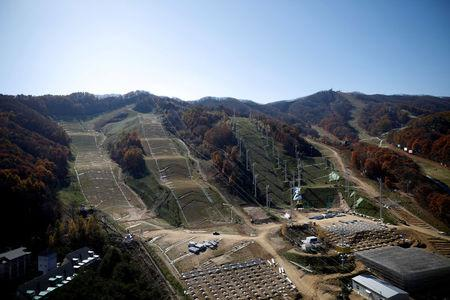 FILE PHOTO: Phoenix Snow Park, the venue for Parallel Giant Slalom, Slopestyle, Moguls and Aerials, is seen in Pyeongchang, South Korea, October 30, 2017.  REUTERS/Kim Hong-Ji/File Photo