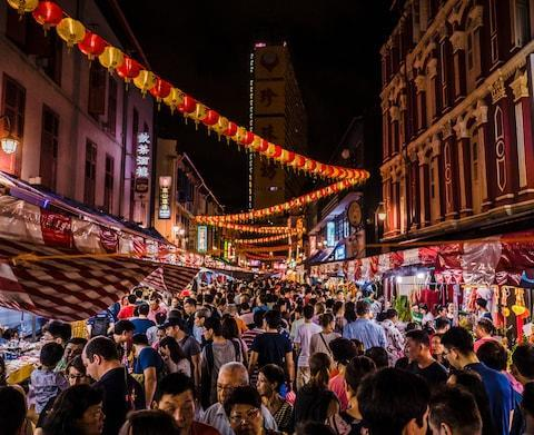 The crowds in Singapore's Chinatown - Credit: The crowds in Singapore's Chinatown