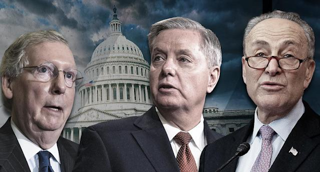 Senate Majority Leader Mitch McConnell, Sen. Lindsey Graham and Senate Minority Leader Chuck Schumer. (Yahoo News photo Illustration; photos: AP, Getty)