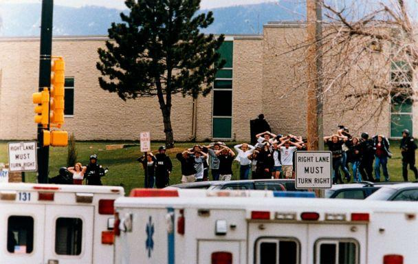 PHOTO: Students run out of the Columbine High School as two gunmen went on a shooting spree in Columbine High School in Littleton, Colo., April 20, 1999. (Corbis via Getty Images)