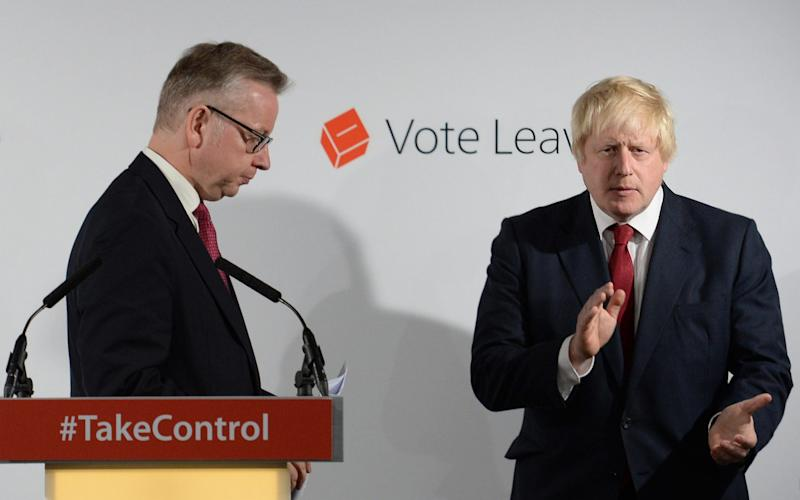 Boris Johnson and Michael Gove held a muted press conference the next day
