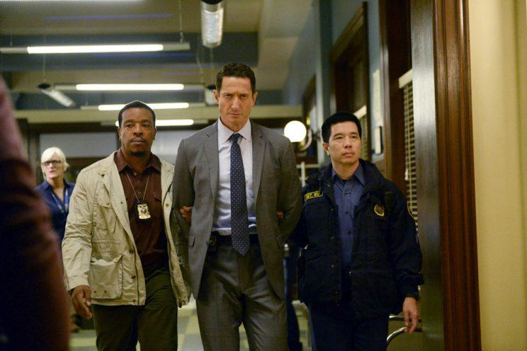 Russell Hornsby as Hank Griffin, Sasha Roiz as Sean Renard, and Reggie Lee as Sergeant Wu (Photo by: Allyson Riggs/NBC)